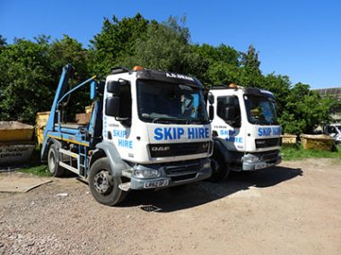 a d drains skip hire vehicle