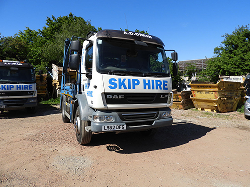 our skip hire vehicle for private and commercial clients