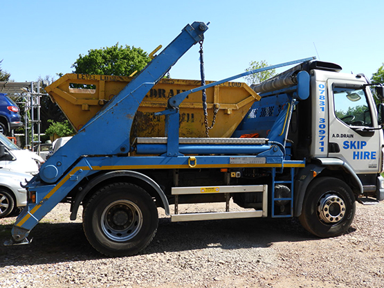 our skip hire vehicle in romford client site